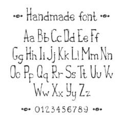 Simple monochrome hand drawn font. Complete abc alphabet set.