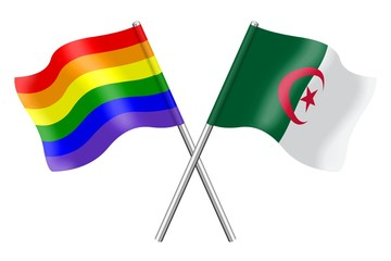 Flags: rainbow and Algeria