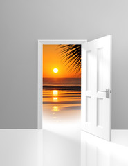Door opening to beautiful paradise beach scene and golden sunset