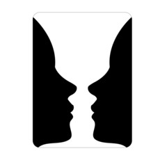 Two faces side by side- illusion of a vase