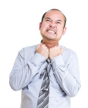 Businessman feel suffocate