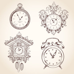 Old vintage clock set