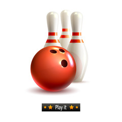 Wall Mural - Bowling isolated set
