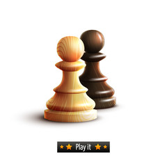 Fototapete - Chess pawns isolated