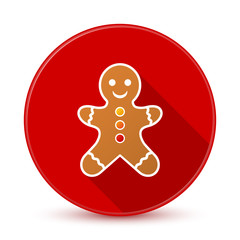 Red gingerbread man icon with long shadow