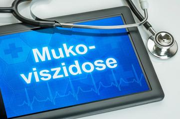 Tablet mit der Diagnose Mukoviszidose auf dem Display