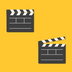 Close and open movie clapper board template icon. Flat