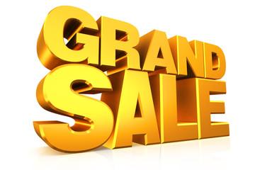 3D gold text grand sale.
