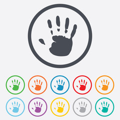 Hand print sign icon. Stop symbol.