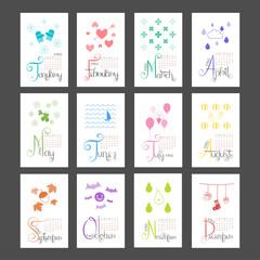 Calendar 2015 Mini Wall Lettering Monthly Sunday Start