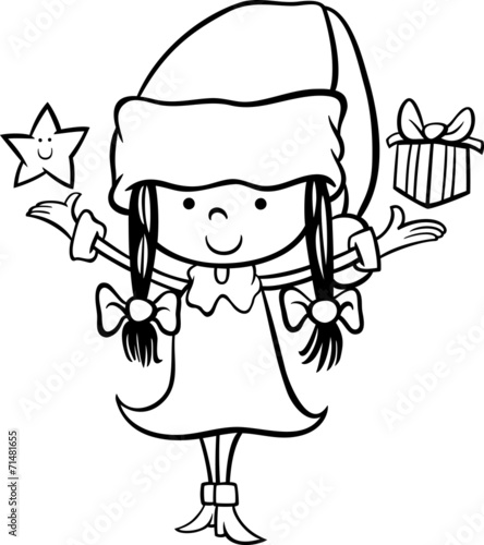 santa claus girl cartoon coloring page