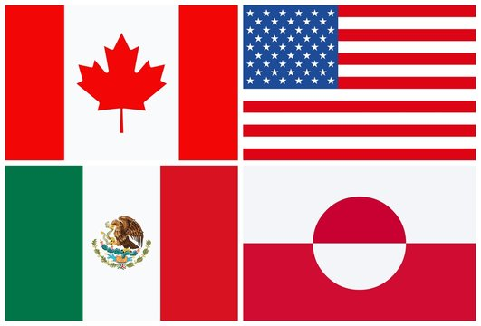 North American flags, Canada, USA, Mexico, Groenland