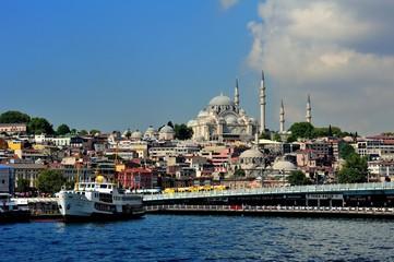 Galata Bridge and Suleymaniye Mosque
