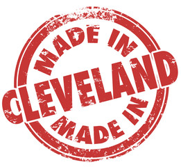 Made in Cleveland Round Stamp Words Ohio OH State City Pride