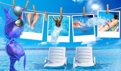 Mädchen auf Polaroid im Pool mit Bikini