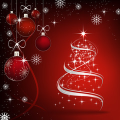 Christmas background with christmas tree and decoration