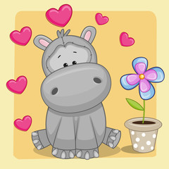 Hippo with heart and flower