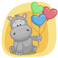 Hippo with balloons