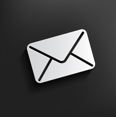 E-mail symbol on black background,clean vector