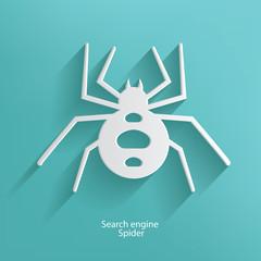 Search engine spider symbol on blue background