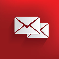 E-mail symbol on red background,clean vector