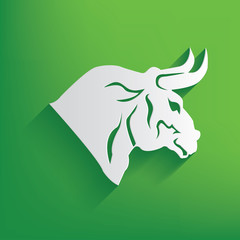 Bull symbol on green background,clean vector