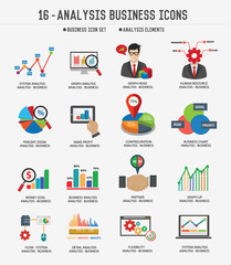 Business Analysis concept icons on white background