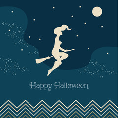 Vector illustration for Halloween. Witch flying on a broom