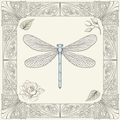 dragonfly and rose drawing