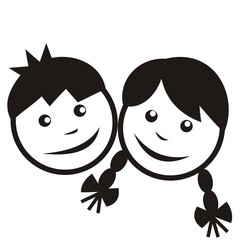 boy and girl, black silhouette
