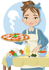 Woman Cooking a Pizza