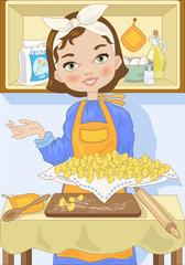 Pasta Fresca-Woman with Tray of Fresh Pasta