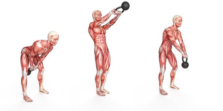 kettlebell exercise - side step swing