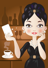 Caffe'-Elegant Woman with Card
