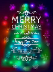 Merry Christmas card on blurred background