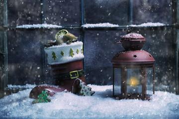 romantische Weihnachtsdeko vorm Haus