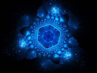 Blue glowing nano particles in space