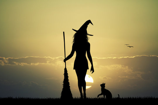 witch silhouette at sunset