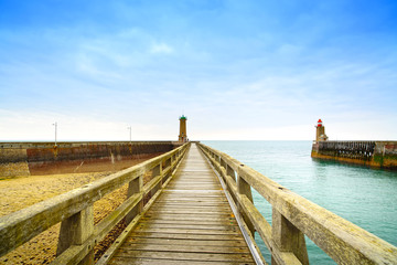 Pier and lighthouse, Fecamp harbor. Normandy France.