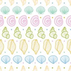 Seashells stripes line art seamless pattern background