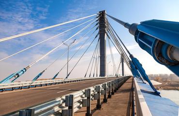 Canvas Prints Bridge Kirovsky cable bridge through Samara River, Russia