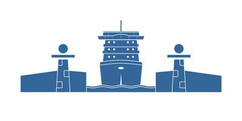 Cruise ship in a lock