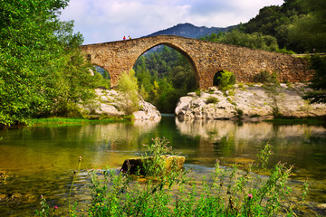 Mountain river with medieval  bridge in  Pyrenees