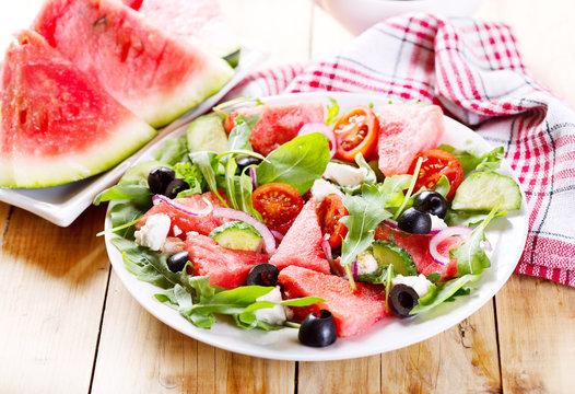 plate of watermelon salad