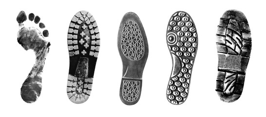 Shoe and foot printouts