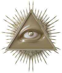 all seeing eye of God. Isolated on white background