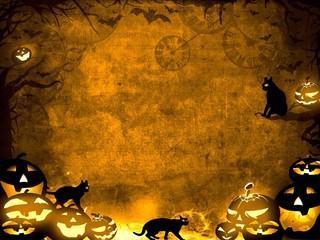Halloween pumpkins and black cats -  sepia texture background