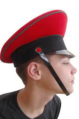 cute  boy in the military cap