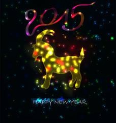 year 2015 made of colored neon effect