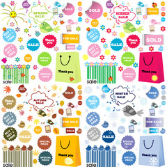 All seasons sale set with stickers and labels